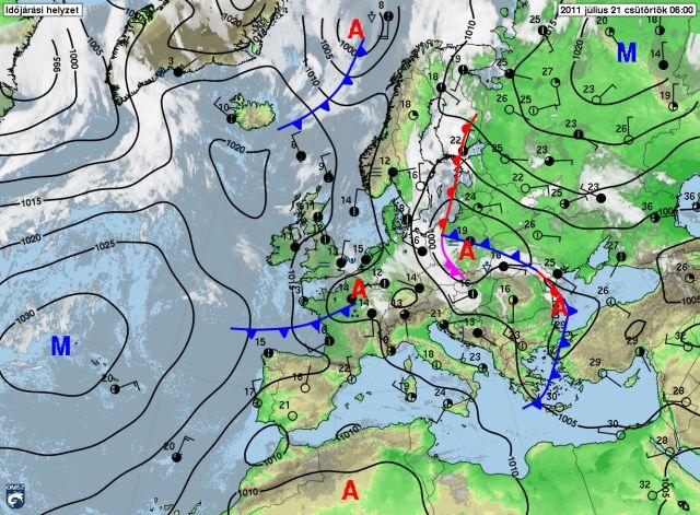 légnyomás térkép Átmeneti javulás után visszatér a csapadékos idő légnyomás térkép